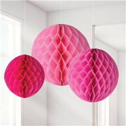 Pink Honeycomb Decorations - 20cm