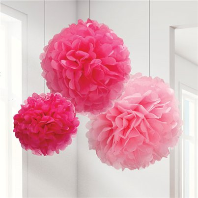 Set Of 3 Different Sized Pink Pom Pom Decorations - 40cm