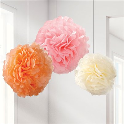 Set Of 3 Different Sized Pastel Pom Pom Decorations - 40cm