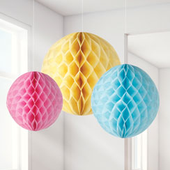 Pastel Honeycomb Decorations - 20cm
