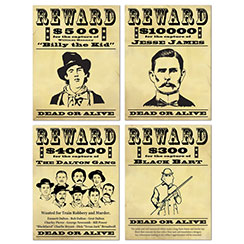 Wanted Sign Cutouts - 48cm