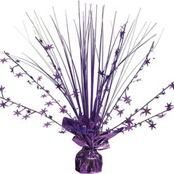 Purple Foil Spray Table Centrepiece - 30cm