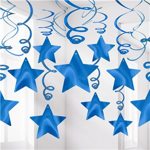 Royal Blue Star Hanging Swirls Decoration - 60cm