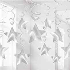 Silver Star Hanging Swirls Decoration - 60cm