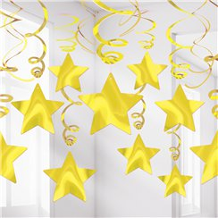 Gold Star Hanging Swirls Decoration - 60cm
