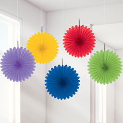 Rainbow Paper Fan Decorations - 15cm