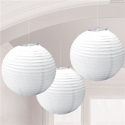 White Paper Lantern Decorations - 24cm