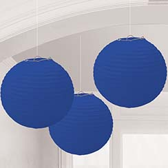 Bright Royal Blue Paper Lantern Decorations - 24cm