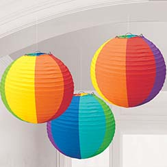Rainbow Paper Lantern Decorations - 24cm