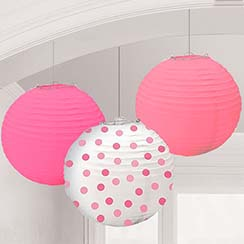 Pink Dots Paper Lantern Decorations - 24cm
