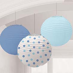 Blue Dots Paper Lantern Decorations - 24cm