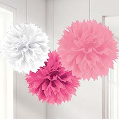 Pink Mix Pom Pom Decorations - 40cm