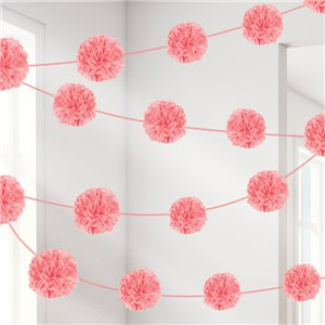 New Pink Pom Pom Garland - 3.7m x 2 pieces