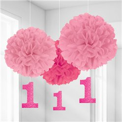 Girl's 1st Birthday Pom Pom Decorations - 40cm