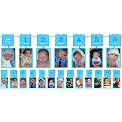 Boy's 1st Birthday Blue Glitter Garland Photo Holder - 3.7m