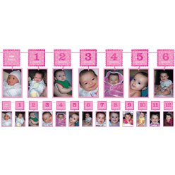 Girl's 1st Birthday Pink Glitter Garland Photo Holder - 3.7m