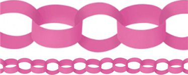 Pink Paper Chain Garland Decoration - 3.9m