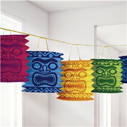 Tiki Paper Lantern Garland - 3.7m Hawaiian Decoration