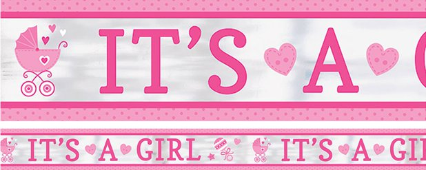 Baby Shower 'It's a Girl' Foil Banner - 7.6m
