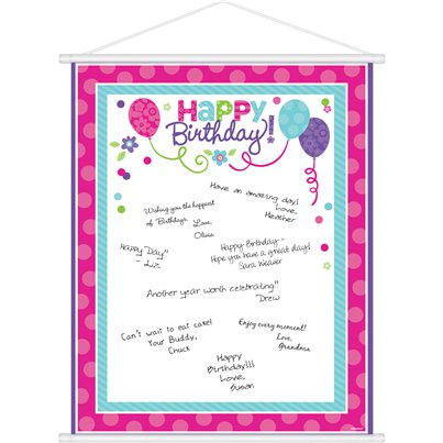 Pink & Teal Happy Birthday Sign In Sheet - 61cm
