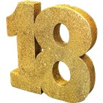 Age 18 Gold Glitter Table Decoration - 20cm