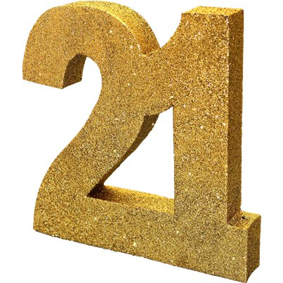 Age 21 Gold Glitter Table Decoration - 20cm