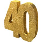 Age 40 Gold Glitter Table Decoration - 20cm