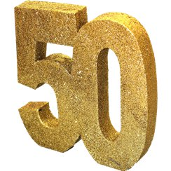 Age 50 Gold Glitter Table Decoration - 20cm