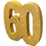 Age 60 Gold Glitter Table Decoration - 20cm