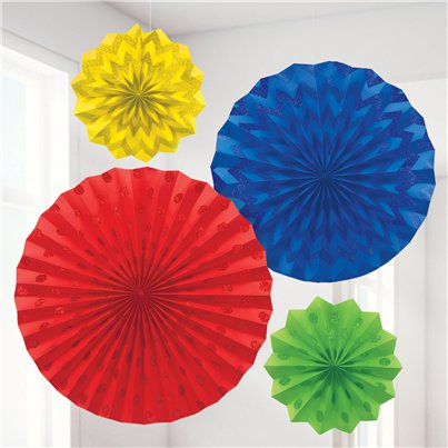 Rainbow Paper Glitter Fan Decorations