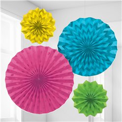 Multi Coloured Paper Glitter Fan Decorations