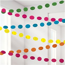Multi Coloured Glitter Hanging String Decorations - 2.1m