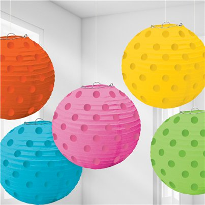 Multi Coloured Foil Dot Hanging Lantern Decorations