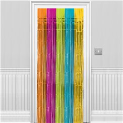 Multi Coloured Metallic Fringed Door Curtain