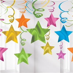 Multi Coloured Star Hanging Swirls Decoration - 60cm