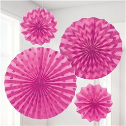Bright Pink Paper Glitter Fan Decorations