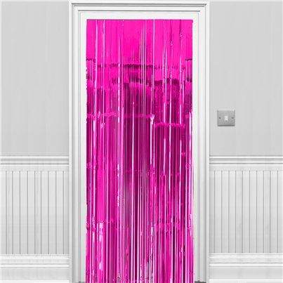 Bright Pink Metallic Fringed Door Curtain