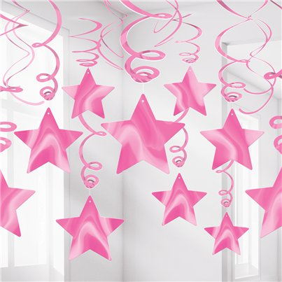 Bright Pink Star Hanging Swirls Decoration - 60cm