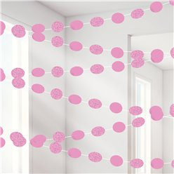 New  Pink Glitter Hanging String Decorations - 2.1m