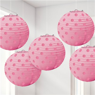 New Pink Foil Dot Hanging Lantern Decorations