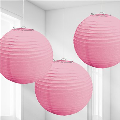 New Pink Paper Lantern Decorations - 24cm