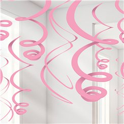 New Pink Hanging Swirls Decoration - 55cm