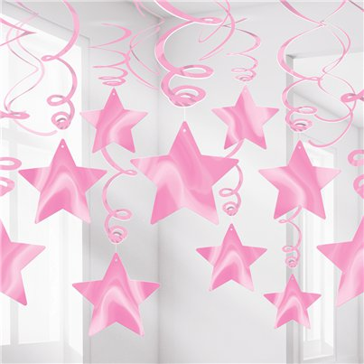 New Pink Star Hanging Swirls Decoration - 60cm