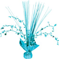 Turquoise Foil Spray Table Centrepiece - 30cm
