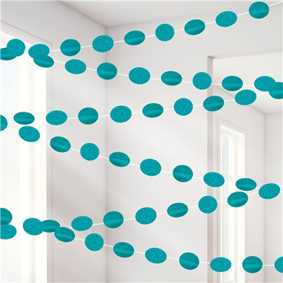 Turquoise Glitter Hanging String Decorations