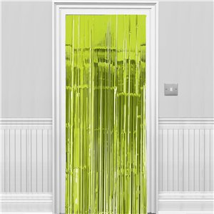 Lime Green Metallic Fringed Door Curtain