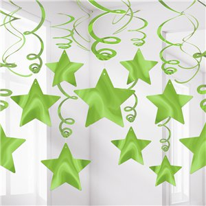 Lime Green Star Hanging Swirls Decoration - 60cm