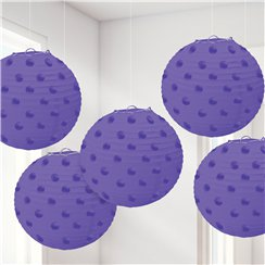 New Purple Foil Dot Hanging Lantern Decorations