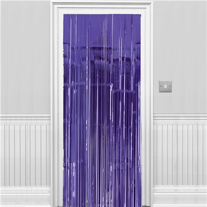 New Purple Metallic Fringed Door Curtain - 2.4m