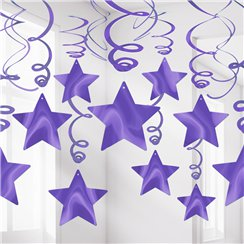 New Purple Star Hanging Swirls Decoration - 60cm